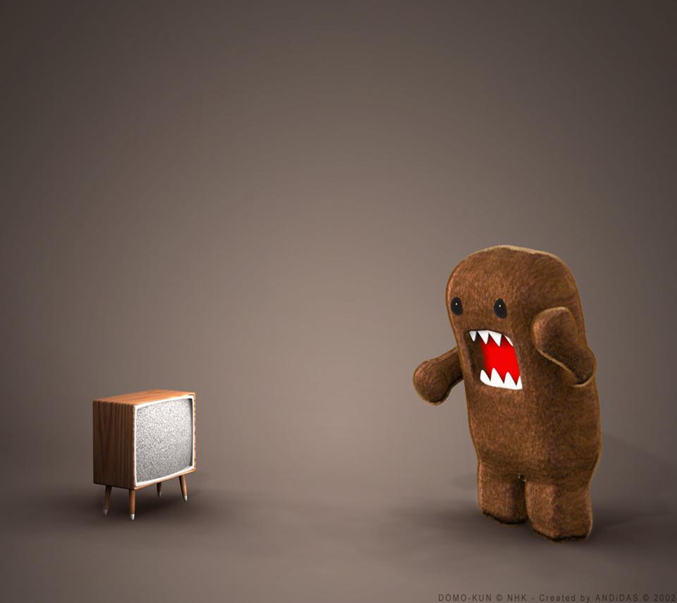 テレビに向かって話しかけているどーもくんです。