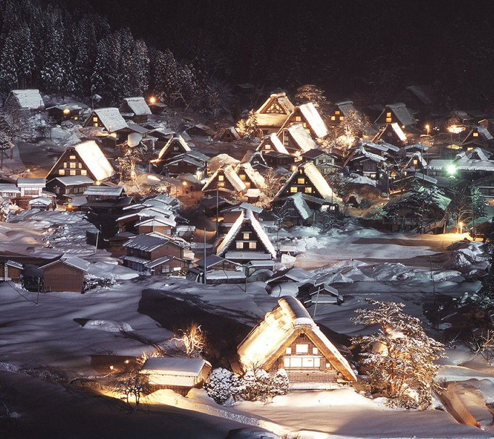 Wp Shirakawa Go At Night Smartphone Wallpaper960x854